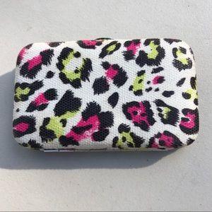 🆕List! Neon Cheetah Leather Card Case! EUC!